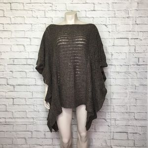 Free People Brown Knit Poncho